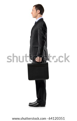 Full length portrait of a businessman holding a leather briefcase waiting in line isolated against white background - stock photo