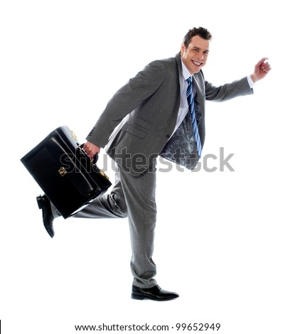 Full length portrait of a businessman running away - stock photo