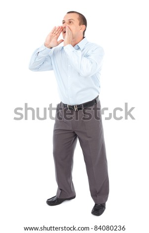 Full length portrait of a businessman yelling, isolated on white background - stock photo