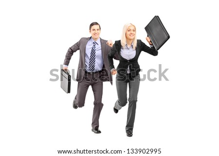Full length portrait of a businesspeople with briefcases running isolated on white background - stock photo
