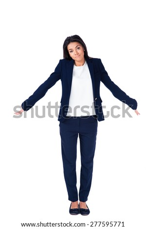 Full length portrait of a businesswoman shrugging her shoulders over white background and looking at camera - stock photo