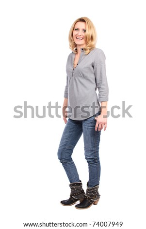 Full length portrait of a caucasian blond woman isolated on white - stock photo
