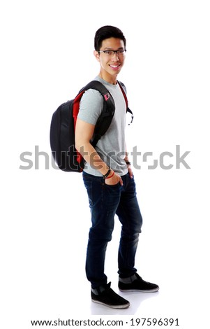 Full length portrait of a cheerful student with backpack over white background - stock photo