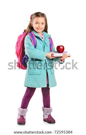 Full length portrait of a children holding books and apple isolated on white background - stock photo