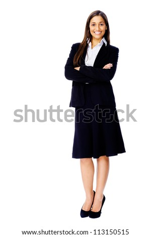 Full length portrait of a confident businesswoman in a suit and heels isolated on white background - stock photo