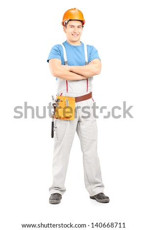 Full length portrait of a confident repairman in a uniform, isolated on white background - stock photo