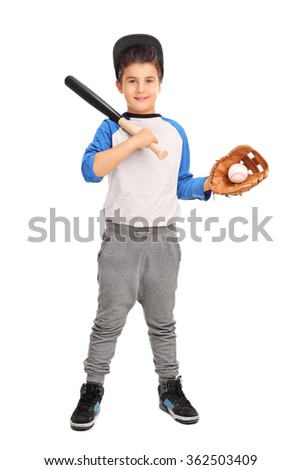 Full length portrait of a cute boy holding a baseball bat and a baseball isolated on white background - stock photo