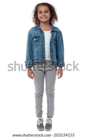 Full length portrait of a cute little girl - stock photo