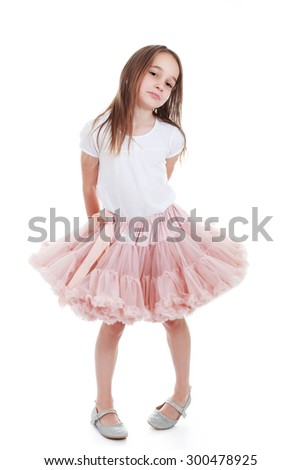 Full length portrait of a cute little girl isolated on white background - stock photo