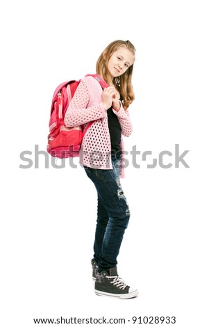 Full length portrait of a cute schoolgirl with schoolbag isolated on white background - stock photo