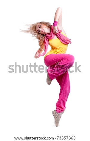 Full-length portrait of a dancing girl. isolated on a white background. - stock photo