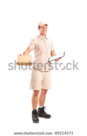 Full length portrait of a delivery boy delivering a packet and holding a clipboard isolated on white background - stock photo