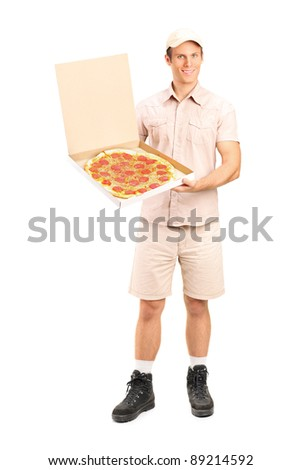 Full length portrait of a delivery boy with clipboard delivering a pizza isolated on white background - stock photo