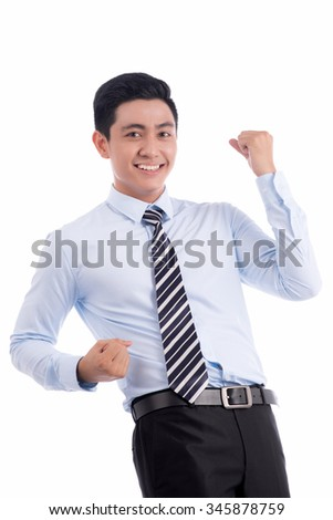 Full length portrait of a excited young executive posing. Asia handsome entrepreneur. Successful business man isolated on white background. - stock photo
