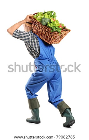 Full length portrait of a farmer carrying a basket of vegetables on his back isolated on white background
