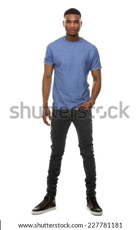 Full length portrait of a fashionable young man standing on isolated white background  - stock photo