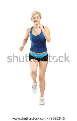 Full length portrait of a female runner isolated on white background - stock photo