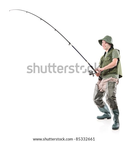 Full length portrait of a fisherman holding a fishing pole isolated on white background