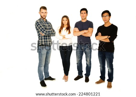 Full length portrait of a friends in casual cloth over white background - stock photo