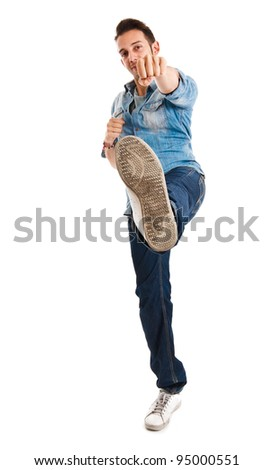 Full length portrait of a funny man - stock photo