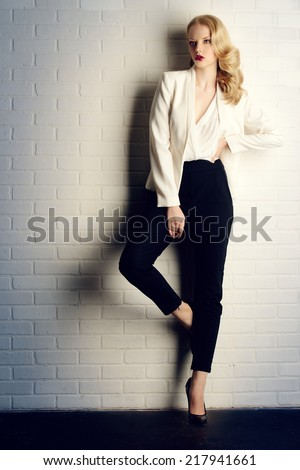 Full length portrait of a gorgeous fashionable model. - stock photo