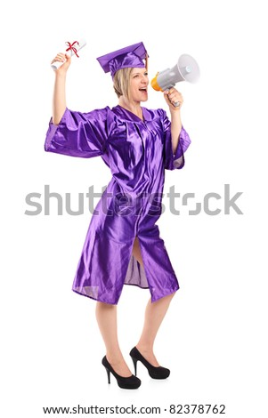 Full length portrait of a graduate student holding her diploma and announcing isolated on white background - stock photo