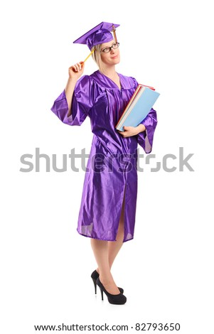 Full length portrait of a graduate student in thoughts holding a book isolated on white background - stock photo