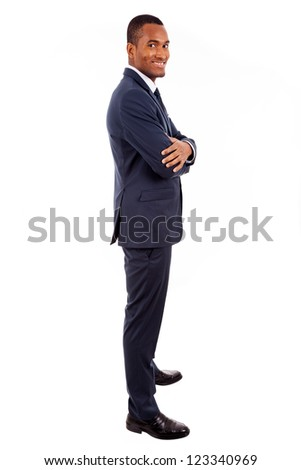 Full length portrait of a handsome African American business man against white background - stock photo