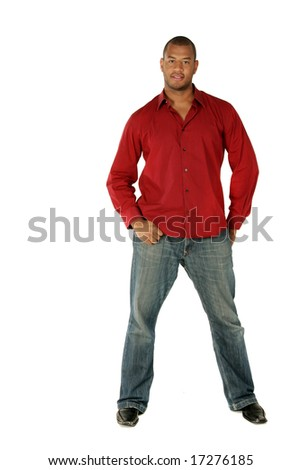 Full length portrait of a handsome African American man. - stock photo