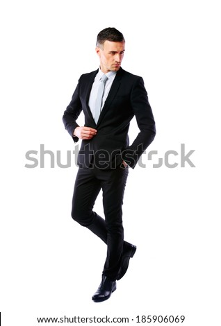 Full-length portrait of a handsome businessman isolated on a white background - stock photo