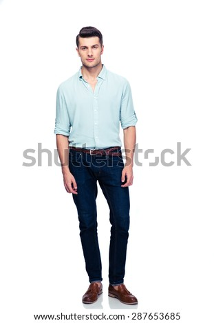 Full length portrait of a handsome man isolated on a white background. Looking at camera - stock photo