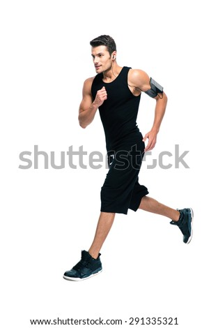 Full length portrait of a handsome sports man running isolated on a white background - stock photo