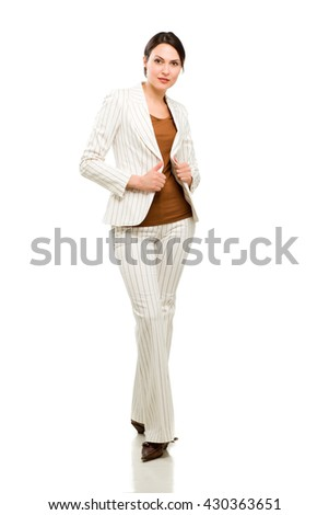 Full length portrait of a happy business woman - stock photo