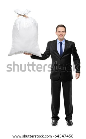 Full length portrait of a happy businessman holding a money bag isolated on white background - stock photo