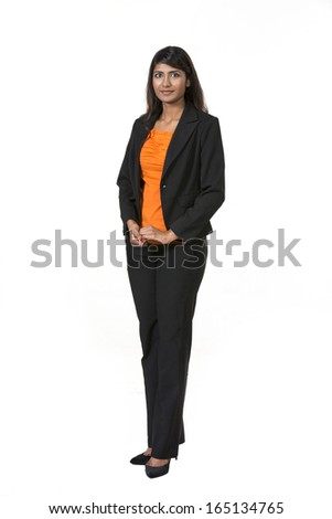 Full length Portrait of a happy Indian business woman. Isolated on a white background. - stock photo