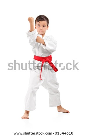 Full length portrait of a karate kid posing isolated on white background - stock photo