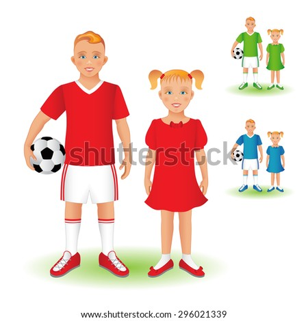 Full length portrait of a kid in sportswear holding a soccer ball and little girl, standing and smiling. Family, brother and sister. Set, isolated on white background. - stock photo