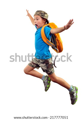 Full length portrait of a little boy with backpack and a cap running, jumping, waving with his hand and shouting.  Human emotion, facial expression,scared, worried, being late, stress,  Isolated  - stock photo