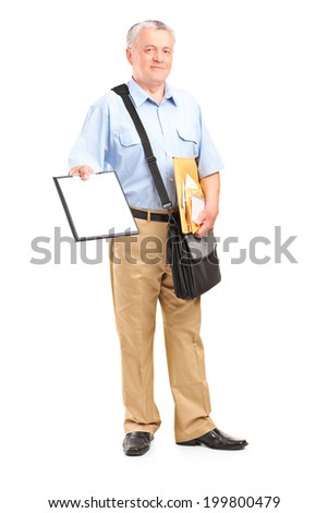 Full length portrait of a mailman holding clipboard and bunch of envelopes isolated on white background - stock photo