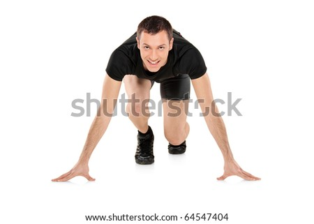 Full length portrait of a male athlete looking at camera isolated on white background - stock photo