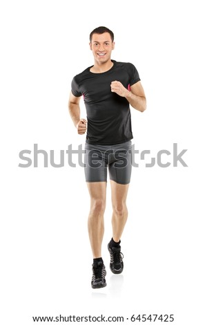 Full length portrait of a male athlete running isolated on white background - stock photo