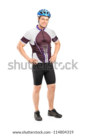 Full length portrait of a male biker wearing helmet and posing isolated on white background - stock photo