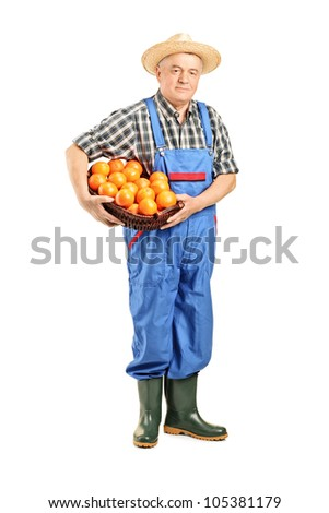 Full length portrait of a male farmer holding a basket full of oranges isolated on white background - stock photo