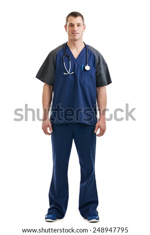Full length portrait of a male nurse or medical technician with stethoscope wearing scrubs isolated on a white background - stock photo
