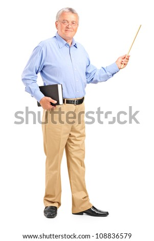 Full length portrait of a male teacher holding a wand and book isolated on white background - stock photo
