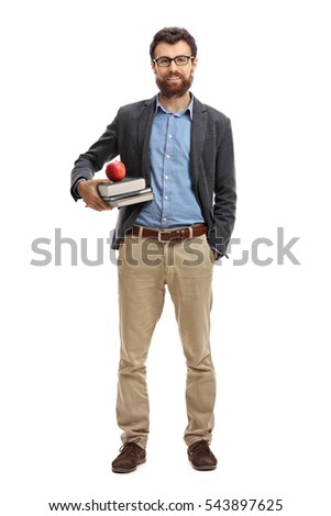 Full length portrait of a male teacher isolated on white background