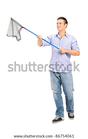 Full length portrait of a man holding an empty fishing net isolated on white background - stock photo