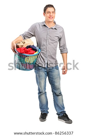 Full length portrait of a man holding an empty shopping basket isolated on white background
