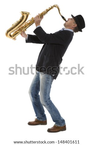 Full length portrait of a man playing on saxophone isolated on background