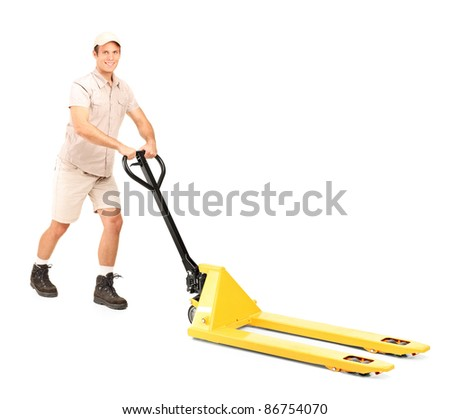 Full length portrait of a manual worker and a fork pallet truck stacker isolated on white background - stock photo